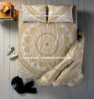 4 PC Set Indian Ombre Mandala Duvet Quilt Cover With Queen Bed Sheet & Pillows