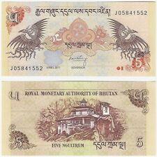Bhutan 5 Ngultrum 2011 P-28b UNC Uncirculated Banknote + FREE NOTE
