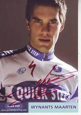 CYCLISME carte cycliste MAARTEN WYNANTS équipe QUICK STEP 2010 signée
