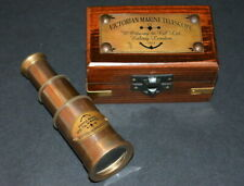 Vintage Brass Maritime Marine Telescope spyglass Telescope with wooden Box