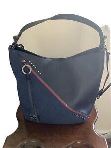 ANNA SMITH LONDON Designer Large Navy Shoulder Grab Handle Bag