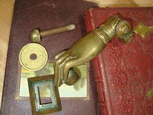 Vintage Original antique Hand of good luck inches long door knoker solid bronze