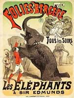 ADVERT THEATRE ACT EDMUNDS ELEPHANT FOLIES BERGERE PARIS POSTER PRINT BB7976B