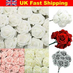 50Pcs Large 7CM Artificial Flowers Foam Rose Heads Wedding Party Decor Bouque UK