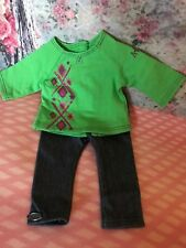American Girl Brand Green Argyle Shirt & Jeans~NEW Truly Me Mix & Match