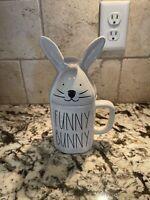 "RAE DUNN ""FUNNY BUNNY"" White Mug with Bunny Ears Topper Easter Spring NEW 🐇"
