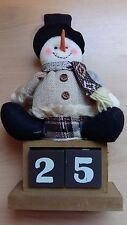 Wooden Days To Christmas Calender Countdown Block Cube Snowman