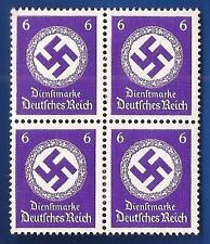 NAZI GERMANY 6 Pf POST OFFICE 3rd Third Reich Swastika postage stamp block MNH