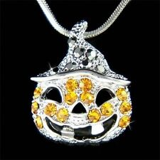 w Swarovski Austrian Crystal Halloween Jack o Latern Orange Pumpkin Necklace NEW