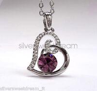Ciondolo cuore acciaio brillanti collana cristallo zircone pendente