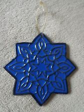 Blue Stoneware Pottery Star Ornament Stonington CT ~ FREE SHIPPING