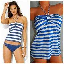 RALPH LAUREN 12 14 L/XL Swimsuit Top TANKINI Bandeau Halter STRIPED White BLUE 2