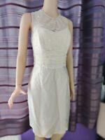 COAST Women Neutral/Beige Dress UK 14 Lace & Silk Party Cruise *description*