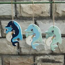 1pcs Mediterranean Style dolphin Wood crafts Pendant Nautical Style Wall Decor