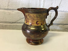 Antique Copper Lusterware Creamer Pitcher Jug w/ Yellow & Floral Decoration