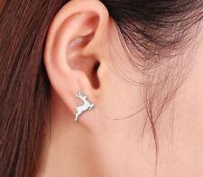 STAINLESS STEEL RUNNING DEER STUD EARRINGS