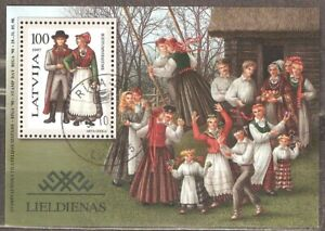Latvia: used block, traditional costumes, 1997, Mi# Bl-10
