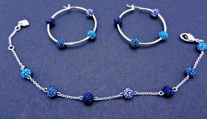 Signed Swarovski Set Earrings Bracelet Teal Blue Amethyst Pointiage Balls B411