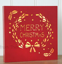 Merry Christmas LED Light Up Plaque Sign Box Wall Standing Vintage Chic Shabby