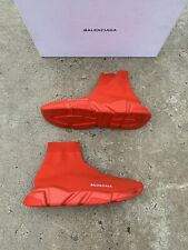 Balenciaga Red Speed Trainer Knit Sock Sneaker size 42  100% Authentic