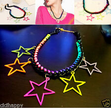 Multi-Coloured stars thick chain short necklace statement UK seller