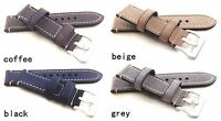Gents Handmade Watch Strap Smooth Tanned Silver buckle 4 Colour Size 20mm-26mm