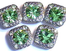 5 - 2 HOLE SLIDER OR SPACER BEADS 8mm PERIDOT & 2mm JONQUIL AUSTRIAN CRYSTALS