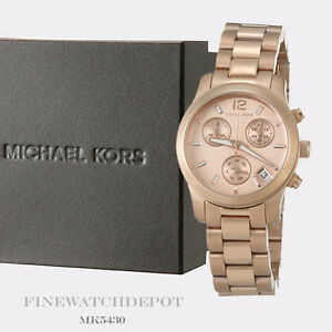 Authentic Michael Kors Ladies Mini Runway Rose Gold Chronograph Watch MK5430