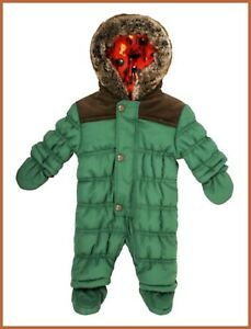 Baby Boys Green Hooded Snowsuit All In One Padded Winter Lined Pramsuit NEW 0-3M