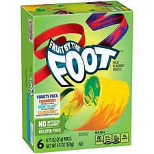 NEW FRUIT BY THE FOOT FRUIT FLAVORED SNACKS 6 ROLLS 4.5 0Z VARIETY PACK FREESHIP