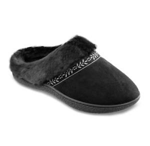 Isotoner Womens Black Microsuede Addie Memory Foam Hoodback Slippers 8.5-9