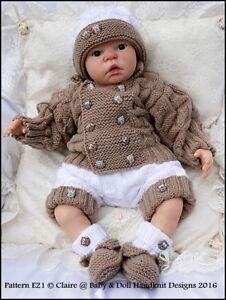 "REBORN DOLL OR BABY KNITTING PATTERN E21 UNISEX SET 16-22"" DOLL/0-3M BABY"