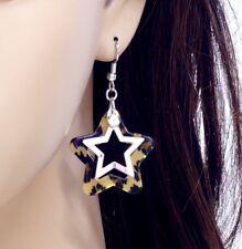 #E121i PAIR Dangle Crystal Star Leopard Print PIERCED Hook Earrings Love Animal