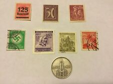 1934A Germany 2 Marks Silver Coin .625 Potsdam Garrison Church & 7 NAZI Stamp