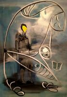 "Fishman: oil painting on canvas panel (19"" x 27"")"
