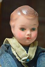 """Vintage 1930s Celluloid Head - Stuffed Body US Navy Sailor Boy Doll 12"""" Tall"""