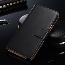 Black Genuine Leather Flip Card Wallet Cover Case For Motorola Google Nexus 6