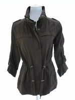 Eddie Bauer Sz L Brown Full Zip Utility Army Jacket Drawstring Waist Womens