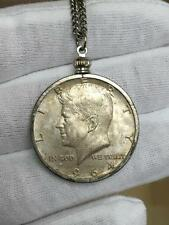 Sterling Silver John F. Kennedy 1964 Half Dollar Coin Medal Token Necklace Gift
