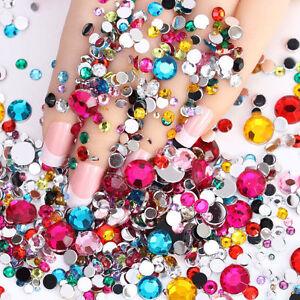 Lots 1000pcs 3D Acrylic Nail Art Tips Gems Crystal Rhinestones DIY Decoration