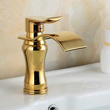 Gold Brass Waterfall Bathroom Sink Vessel Faucet Single Handle Basin Mixer Tap