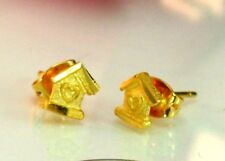 22K THAI BAHT DP YELLOW GOLD ~ CUTE LOVE HOME HOUSE POST STUD BABY GIRL EARRINGS