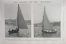 1902 PRINT ~ THE DINGHY OF THE BANSHEE ~ YACHT  RUNNING FREE SKIFF CLUB BOAT