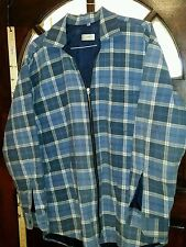 Canada Plaid Flannel LS ZIP up Work Shirt Jacket Quilted Lining medium blue   H1