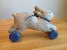 Folk Art Primitive Hand Crafted Fabric Bunny Rabbit Toy artisan signed R A FLAGG