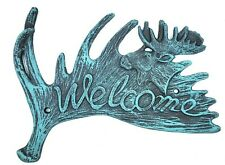 Moose Welcome Door Wall Sign Plaque Cast Iron Rustic Cabin Lodge Antler Decor