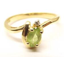 Vtg 14K Gold Peridot Diamond Ring Sz 6.25 Estate August Birthstone Oval Cut