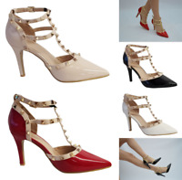 Womens Ladies New Pointed Toe Studded Stiletto Heel Court Shoes Party Sandals F2