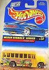 1998 Vintage Hot Wheels #736 Mixed Signals 4/4 SCHOOL BUS Yellow w/Fender Tampo