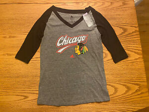 CHICAGO BLACKHAWKS NHL ADIDAS LOGO WOMENS V-NECK RAGLAN 3/4 SLEEVE SHIRT LARGE